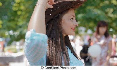 American woman dance with leather hat.Western style. - Sexy...