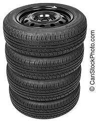 Stack of four wheel black tyres for summer isolated on white...