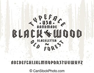 Sanserif font in black letter style decorated wood texture