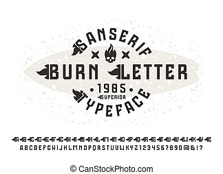 Sanserif font with flame initial letter