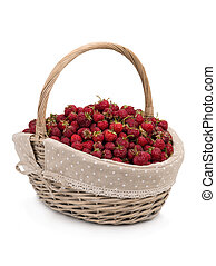 strawberry in a big basket isolated on a white background