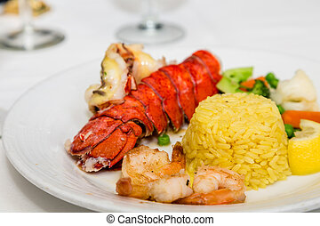 Lobster Tail with Shrimp and Rice - A lobster tail with...
