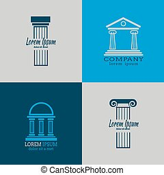 Architectural vector logo templates with columns Column...