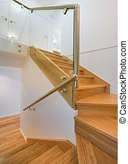 Timber Staircase - A modern timber staircase with chrome...