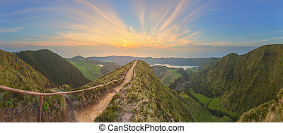 Mountain landscape with hiking trail and view of beautiful...