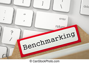 Card File with Inscription Benchmarking. - Red Card Index...