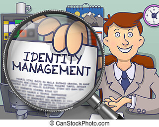 Identity Management through Magnifying Glass. Doodle Design.