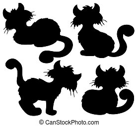 Cartoon cat silhouette collection - vector illustration