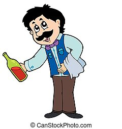Cartoon waiter serving wine - vector illustration.