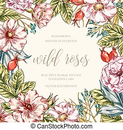 Wild roses floral frame - Hand drawn vintage floral frame...
