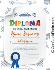 Diploma template for kidswith racinf cars.