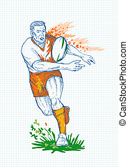 Rugby player running and passing ball with grid in the background.