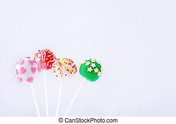 Cake pops isolated on white background