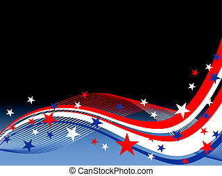 4th july background - illustration of colorful waves and...