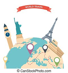 Travel to World. Trip to World. Road trip. Tourism. Vector illustration of flat design travel composition with famous world landmarks.