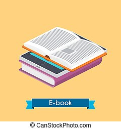 Flat 3d isometric e-book reader and books. Online reading. E-learning concept. Flat design modern vector illustration concept.