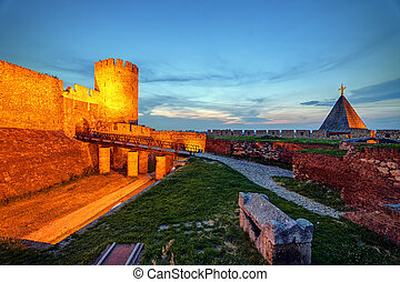 Old tower and Ruzica curch at Belgrade fortress and...
