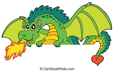 Giant green lurking dragon - vector illustration