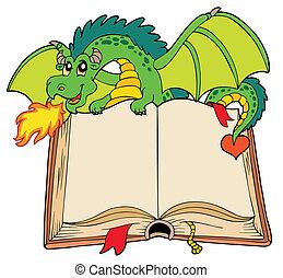 verde, dragão, segurando, antigas, livro
