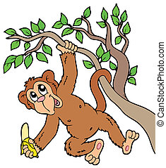 Monkey with banana on tree - vector illustration