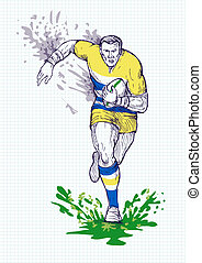 Rugby player running and passing ball with grid in the...