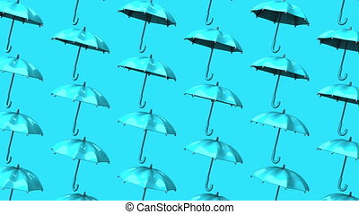 Pale Blue Umbrellas On Pale Blue Background Loop able 3DCG...