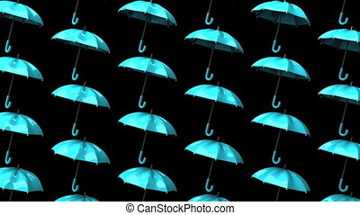 Pale Blue Umbrellas On Black Background. Loop able 3DCG...