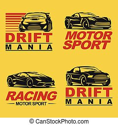 sportcar set retro - Set of four sport cars logo template,...
