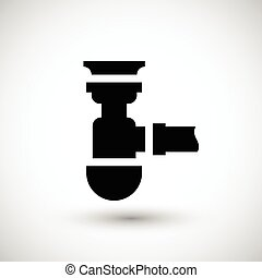 Sewage siphon icon isolated on grey Vector illustration