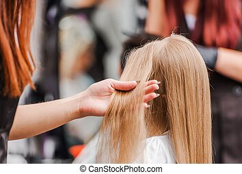 Young Girl Taking Hair Cut in the Beauty Salon. Hairdresser...