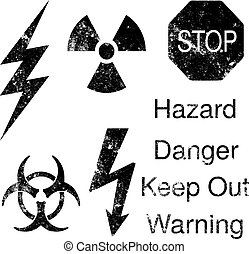 Grunge danger icons set - A set of grunge danger and hazard...