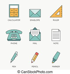 Office tools color line icons
