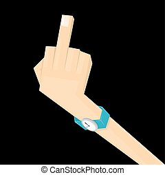 simple man hand with middle finger concept of pointer,...