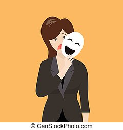 Fake business woman holding a smile mask Metaphor concept