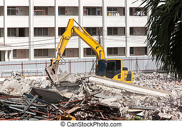 Air extraction system Hydraulic hammer on demolition of old...