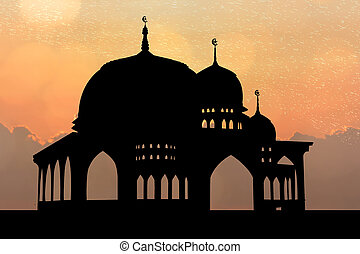 Silhouette of Mosque at sunset sunset background