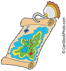 Treasure map with pirate hook