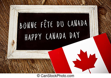 text Happy Canada Day in French and English - the text Happy...