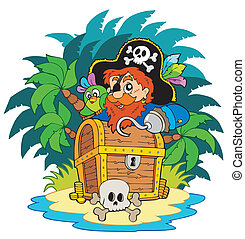 Small island and pirate with hook - vector illustration