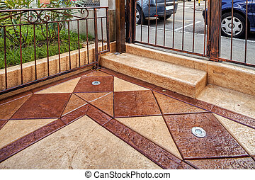 Stamped concrete - Detail of stamped concrete on...