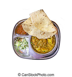 Sambar with chapati , lentil dish. Indian food, isolated on...