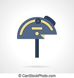 Steel protractor flat color vector icon - Blue mechanical...