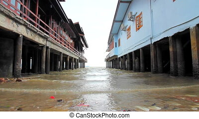 Sea waves washing buildings bases - Not big waves washing...