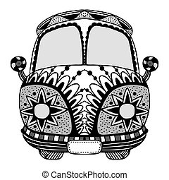 Vintage car a mini van in zentangle style. Hand drawn image....