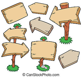 Wooden boards collection - vector illustration