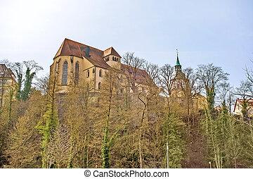 Backnang, abbey church - Backnang, Germany - April 03, 2016:...