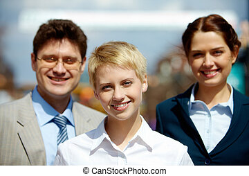 Business leader - Portrait of confident business group...