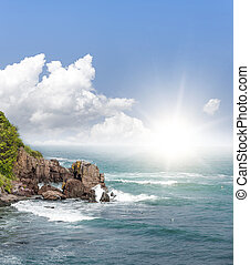 Beautiful seascape image. - Seascape. Bright sun on a...