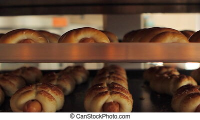Big rack with bakery products - There is rack of baking with...