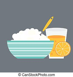 Breakfast Cereal Oatmeal and Orange Juice, Icon in Modern Flat S